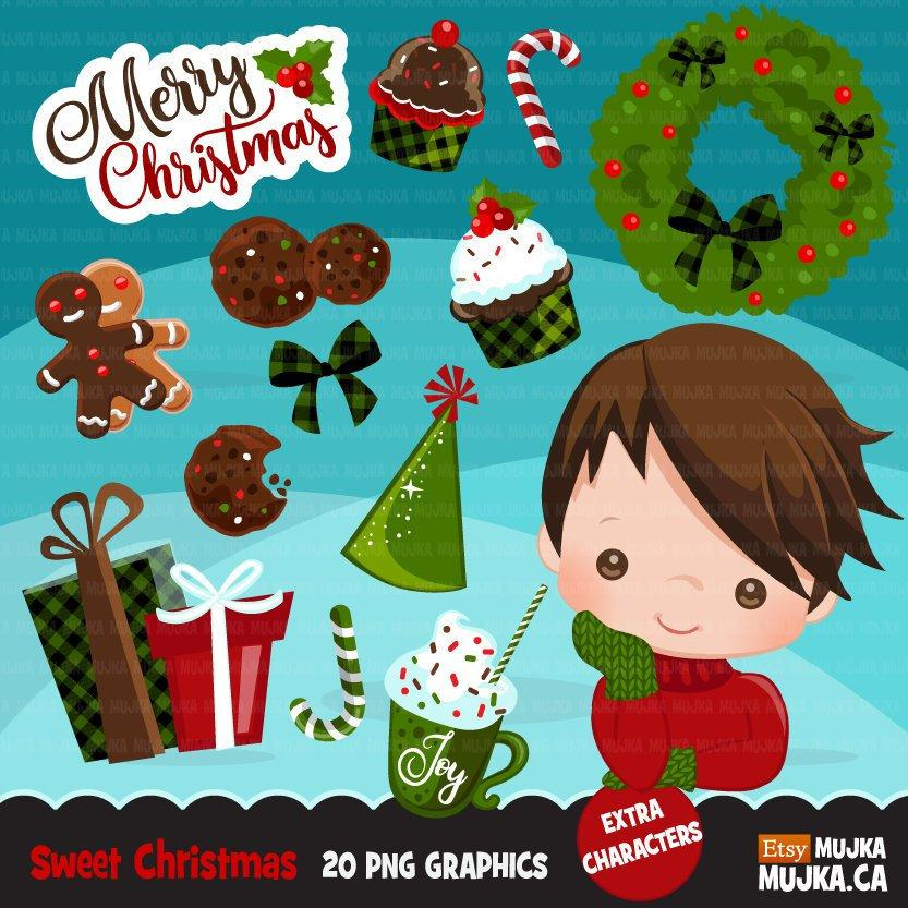 Sweet Christmas Boy Clipart