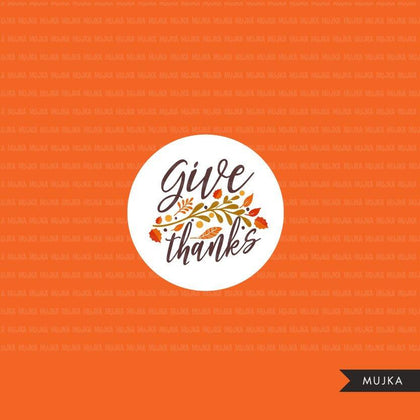 Thanksgiving Fall Word Art Clipart. Lettering