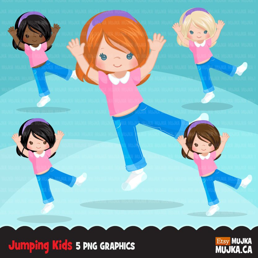 Bounce House Jumping girl Clipart