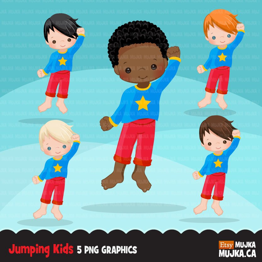 Bounce House boys Clipart