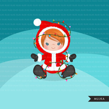 Baby Girl Christmas clipart, Santa costume