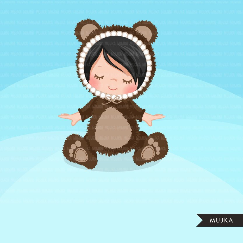 Baby Bear clipart, bear costume baby shower graphics.