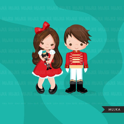 Christmas clipart, Nutcracker ballet girl in red