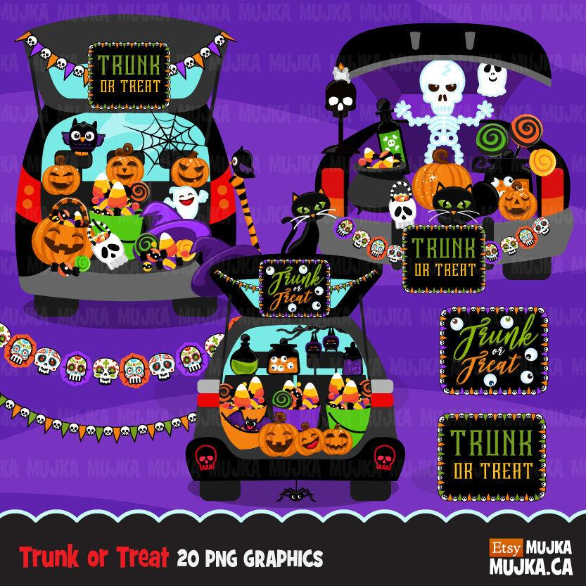 Halloween Trunk or treat clipart.