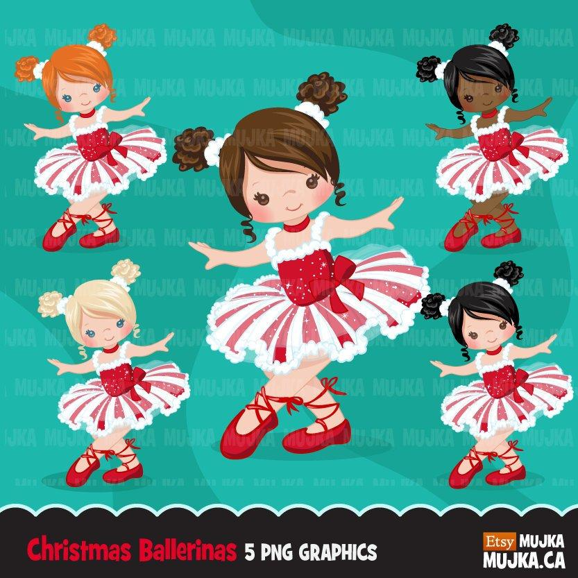 Christmas Ballerina clipart, ballet girl in red and white