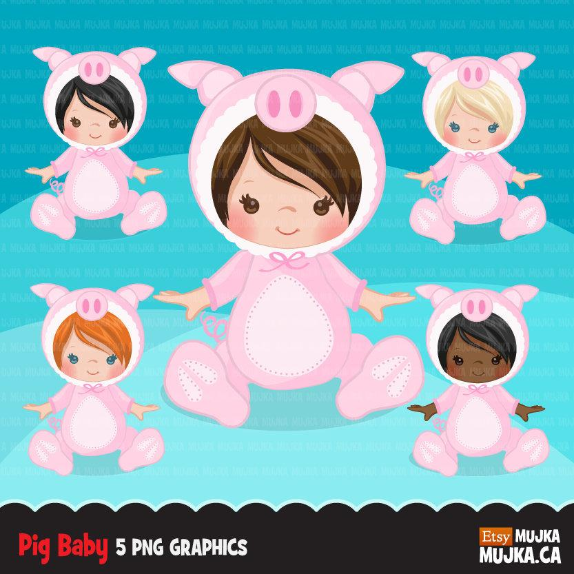 Baby pig clipart, halloween animal costume