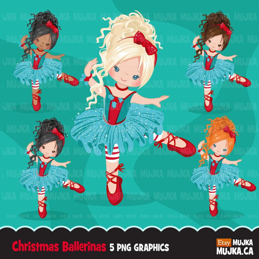 Christmas Ballerina clipart, Girl in blue