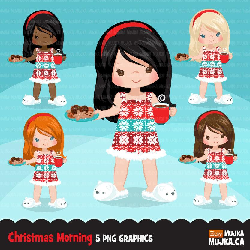 Christmas Clipart, girl with cookies and drink