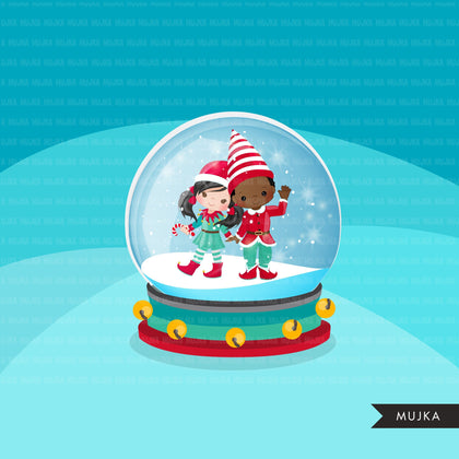 Christmas snow globe clipart winter