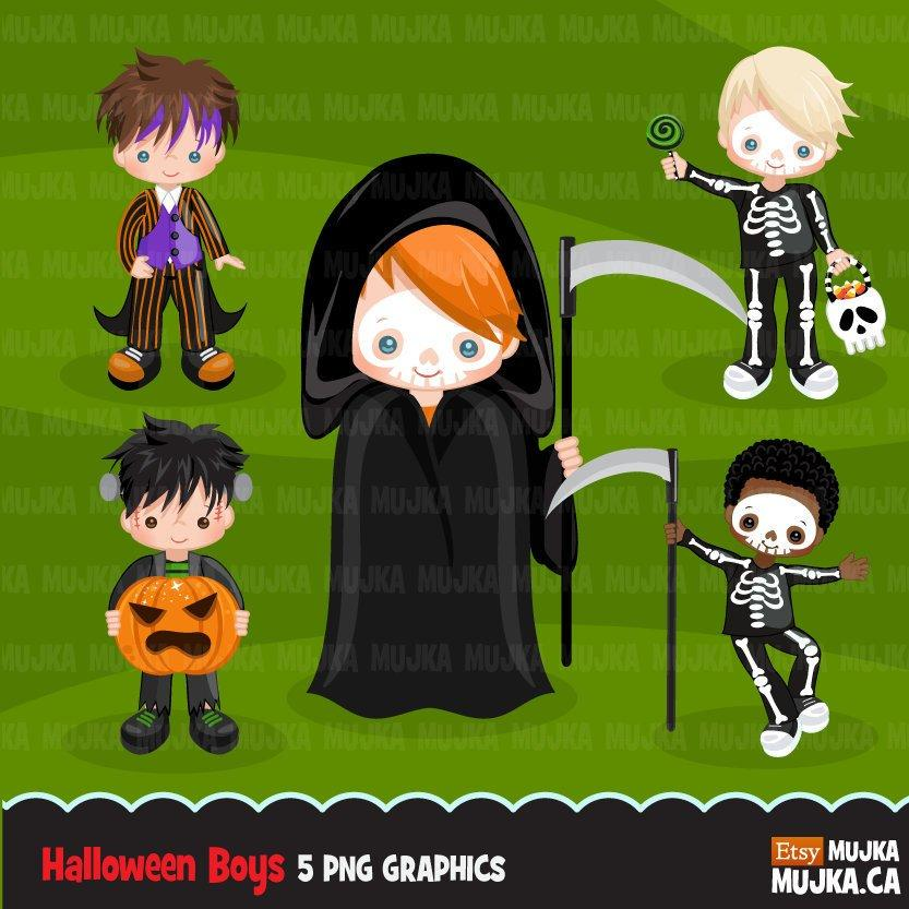 Halloween Trick or treat clipart. Skeleton boy