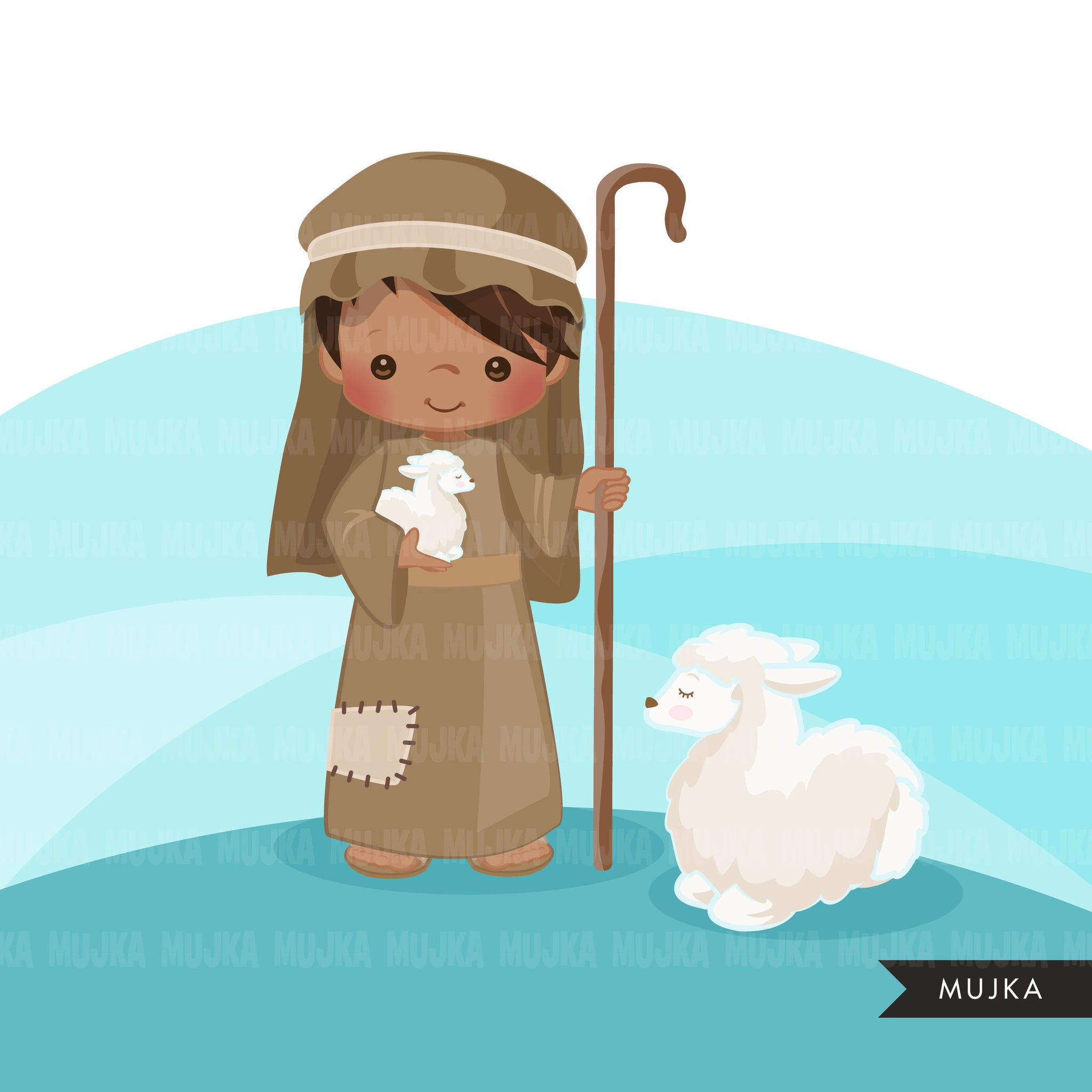 Nativity Clipart, boy shepherd with baby animal sheep religious