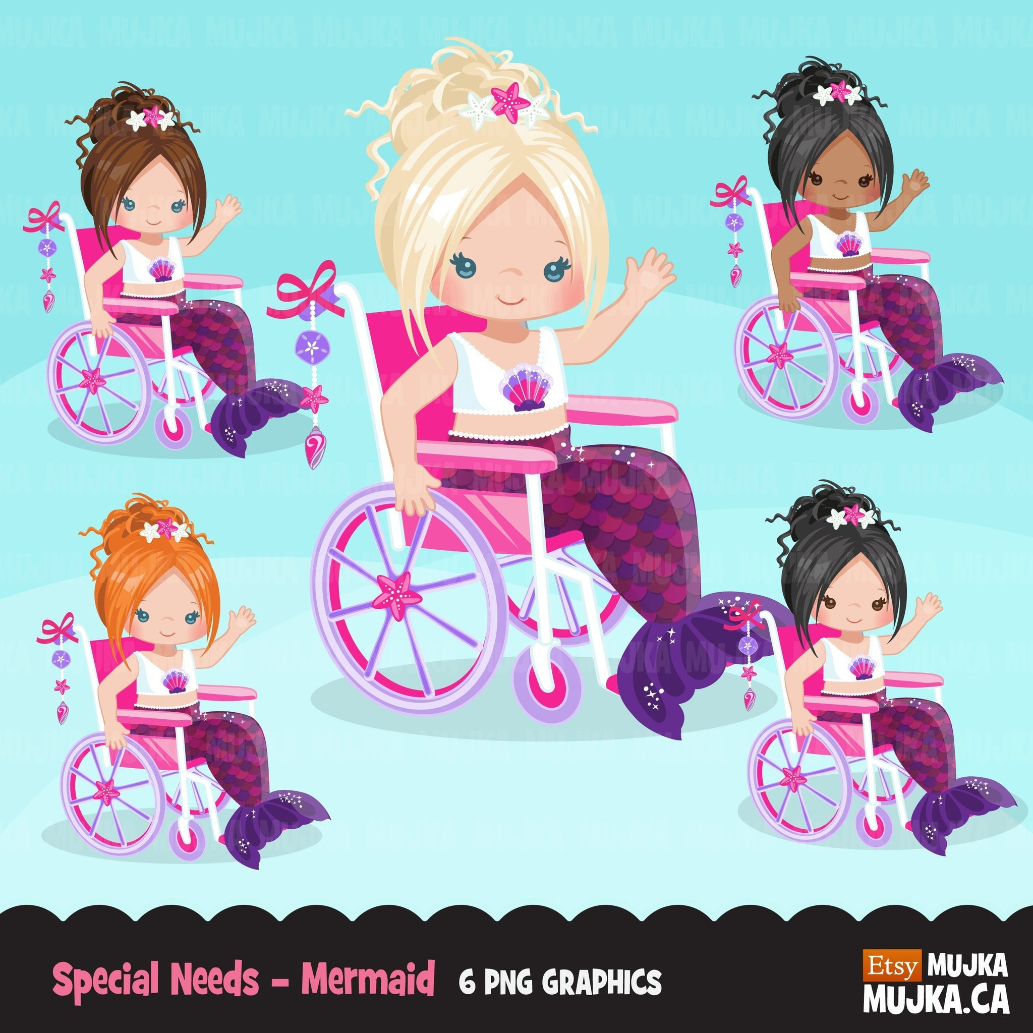Special Needs Wheelchair, girl clipart