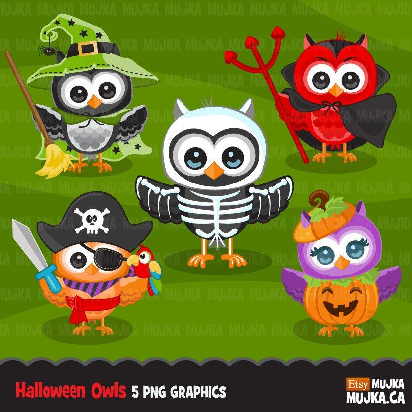 Halloween owls clipart. Cute animal in Halloween costumes