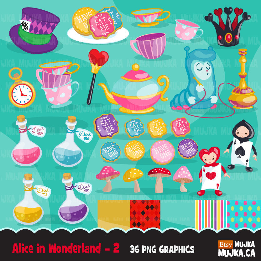 Alice in Wonderland Clipart,  Mad Hatter Tea Party