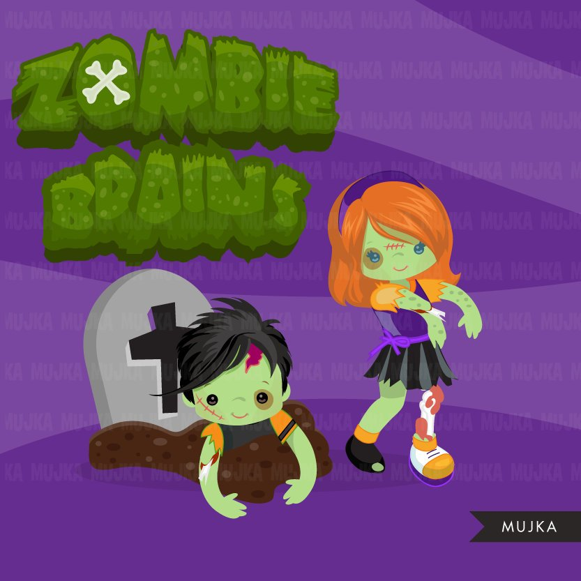 Halloween zombie kids clipart. Cute zombies girl and boy