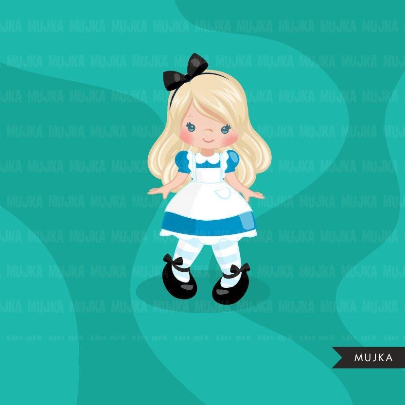 Alice in Wonderland Clipart,  Mad Hatter Tea Party, Girl