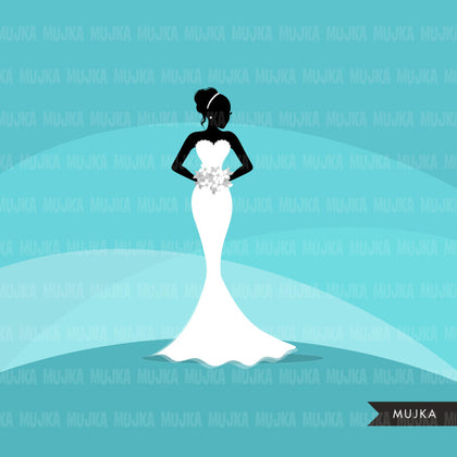 Wedding bridal clipart, black bride silhouettes