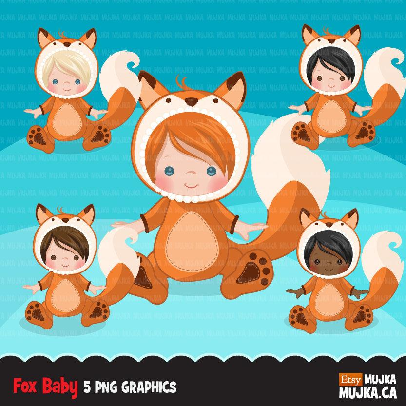 Baby fox clipart, halloween costume, fall