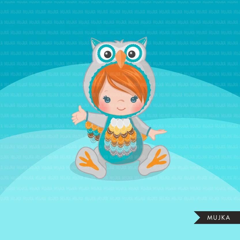 Baby owl clipart, cute animal costume, fall