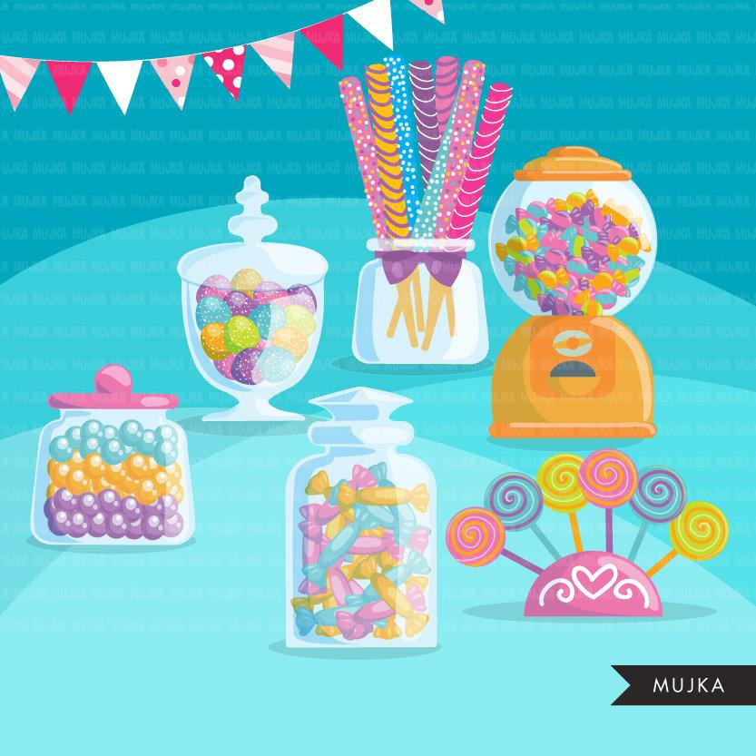 Candy Clipart, candy land, pastel candy birthday party