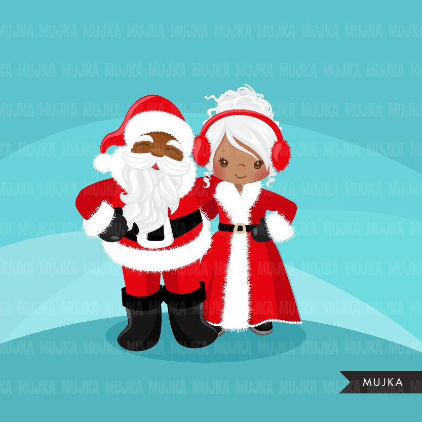 Black Mr and Mrs. Santa clipart, Christmas