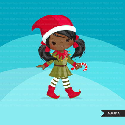 Christmas Girl Elf Clipart
