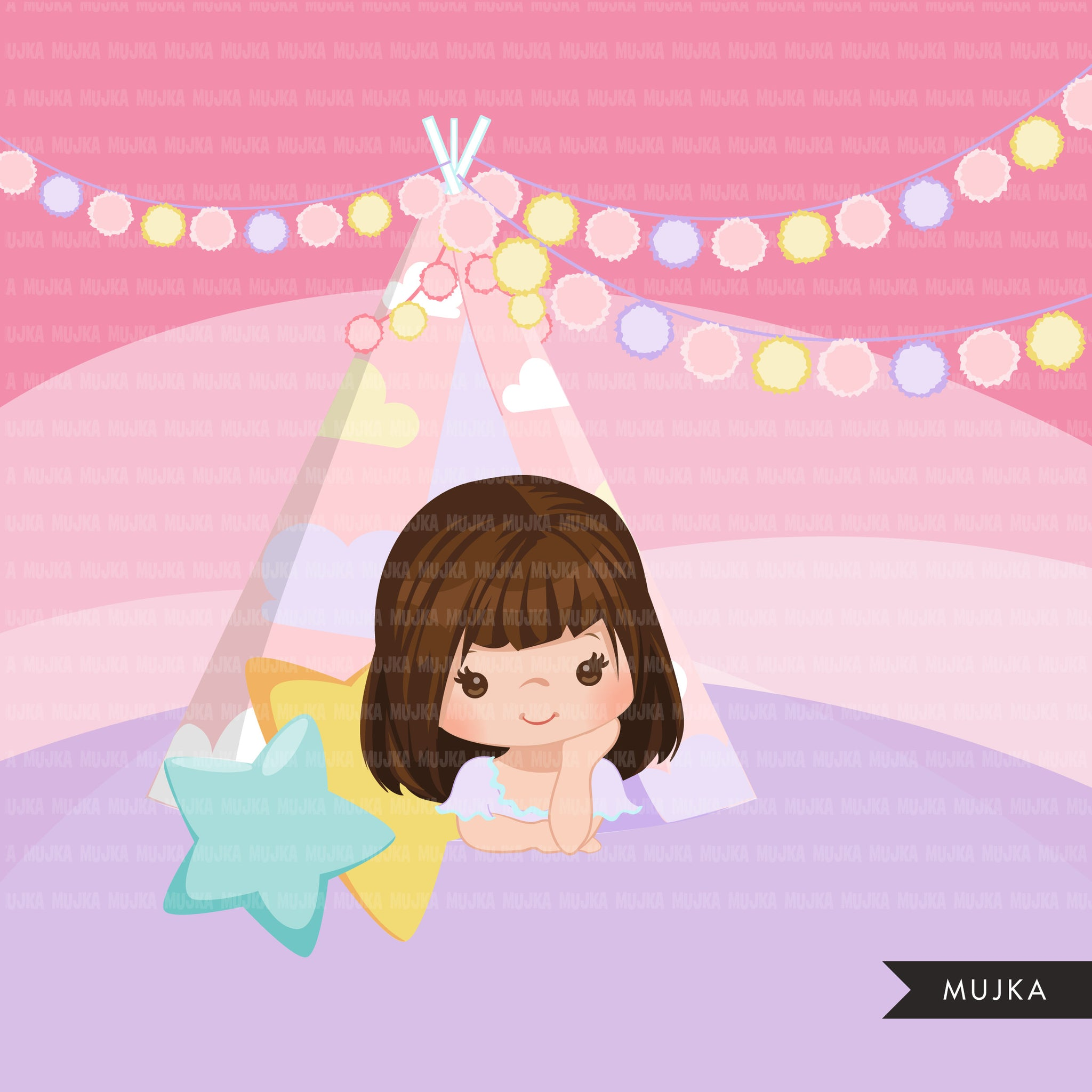 Cute girl Slumber party clipart