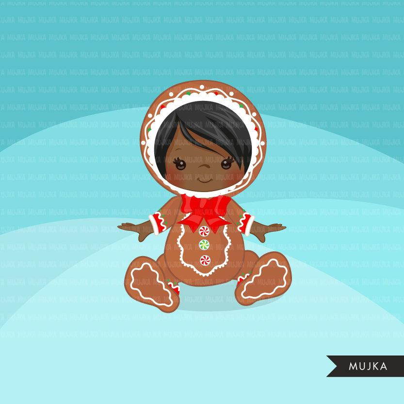 Baby Gingerbread cookie clipart, Christmas costume
