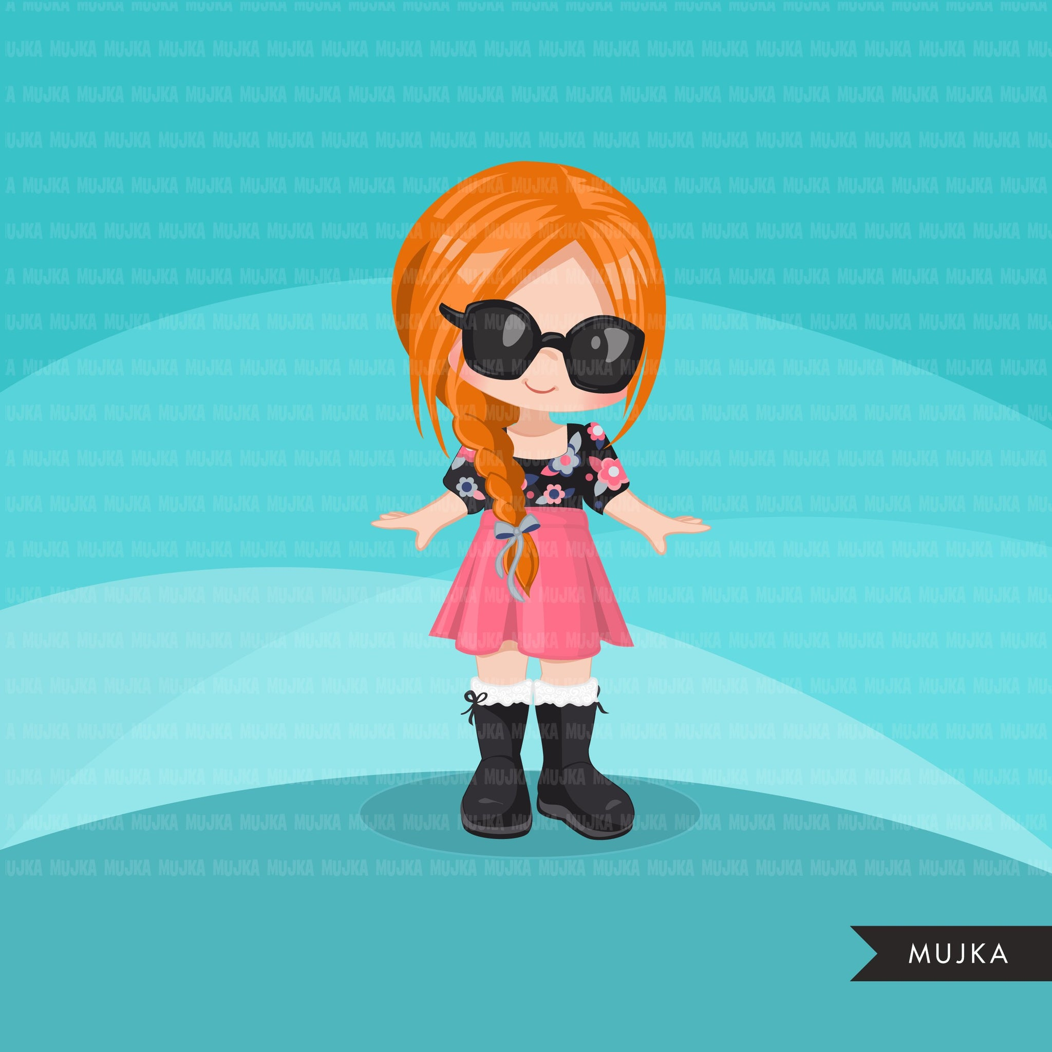 Little girl cute outfits clipart. spring summer