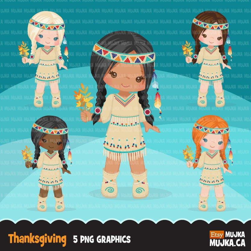 Native girls clipart., fall graphics