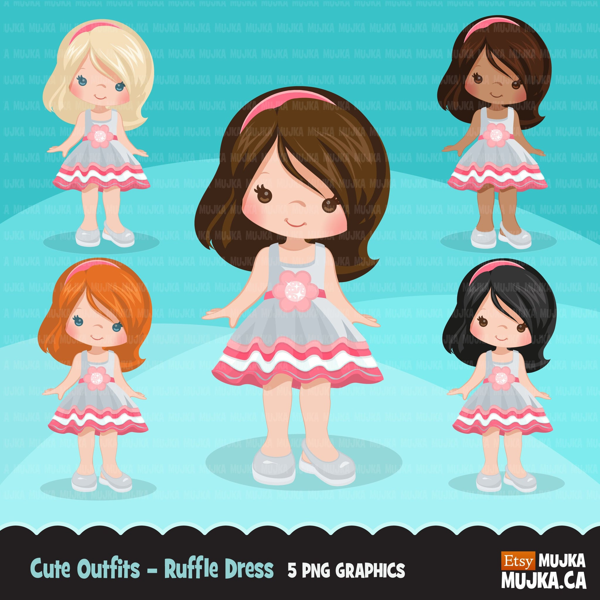 Little girl in dress cute outfits clipart.