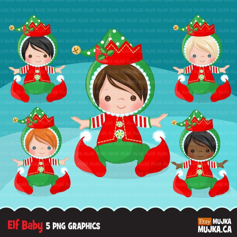 Baby Elf clipart, Christmas elf costume