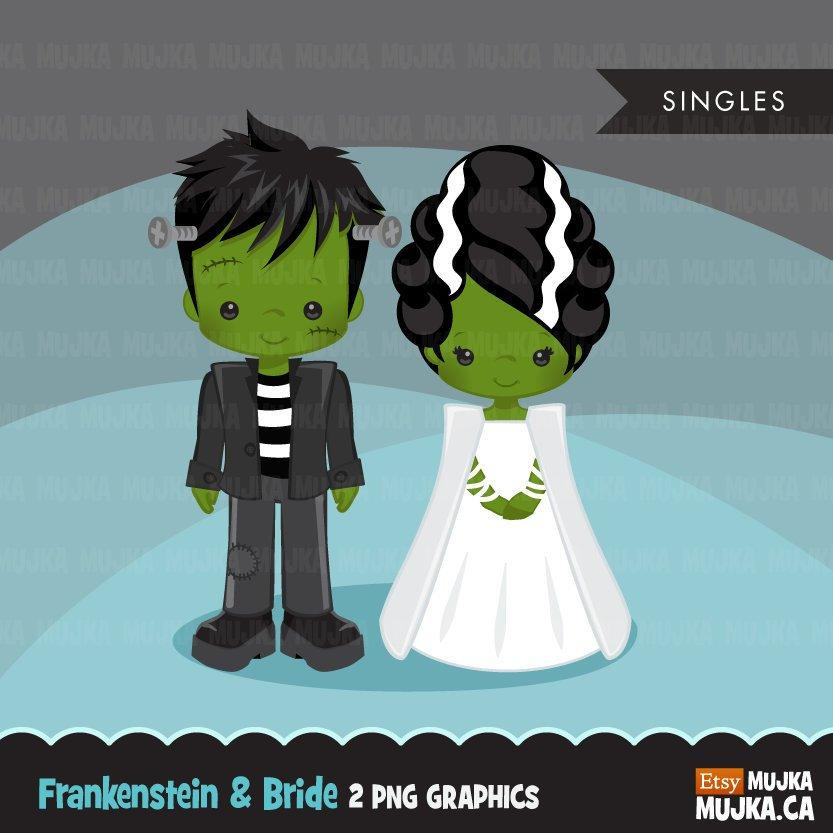 Halloween Clipart, girl and boy, bride and groom,  Frankenstein and his bride illustrations