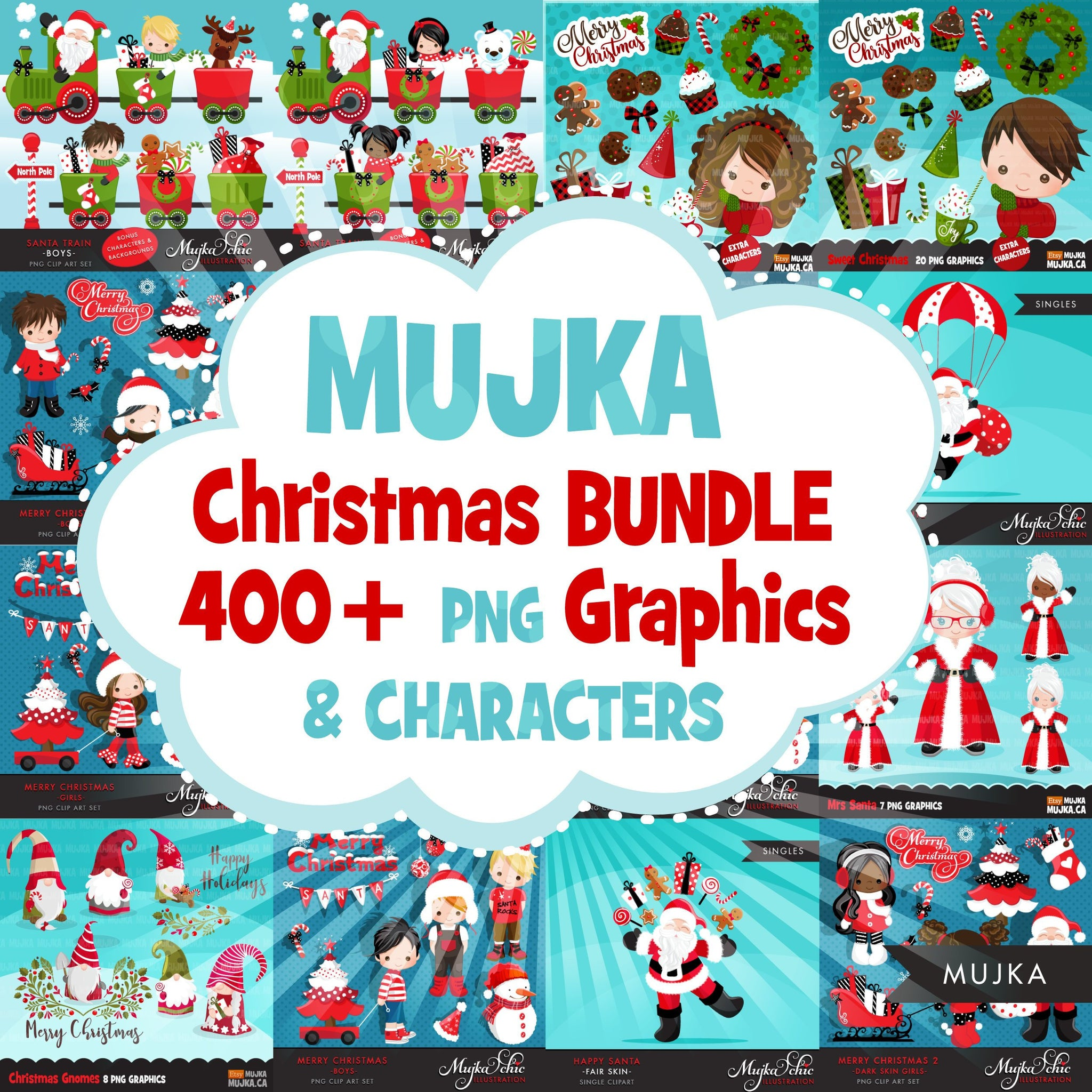 Christmas Clipart Bundle. Noel Illustrations, boy, girl, animal, winter