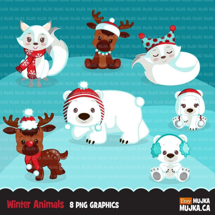 Christmas animals clipart, winter wonderland