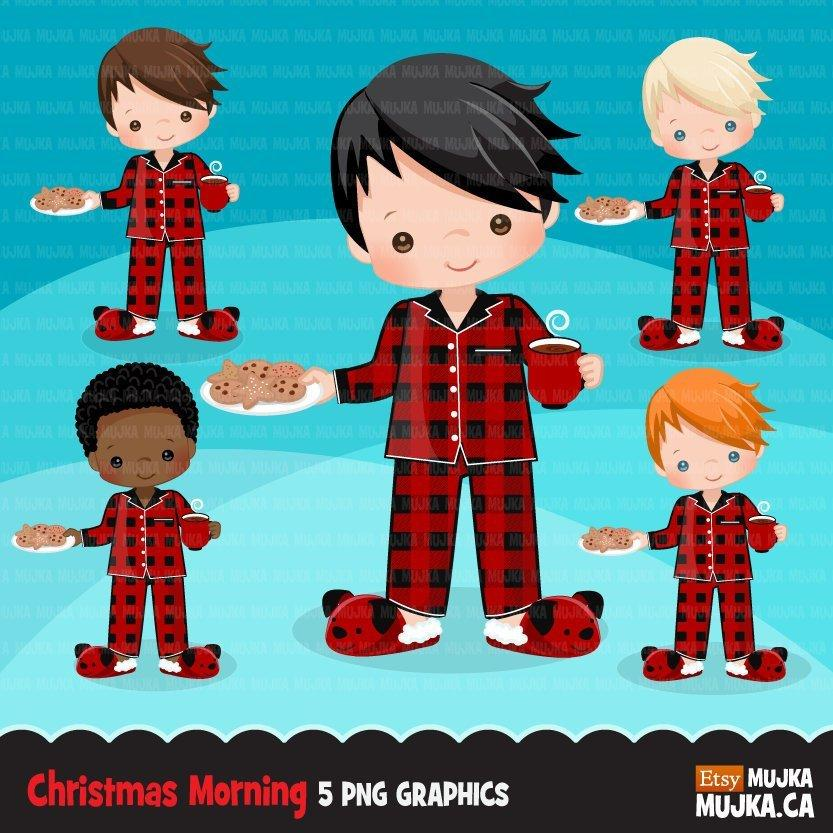 Christmas Clipart, Boy with cookies and milk
