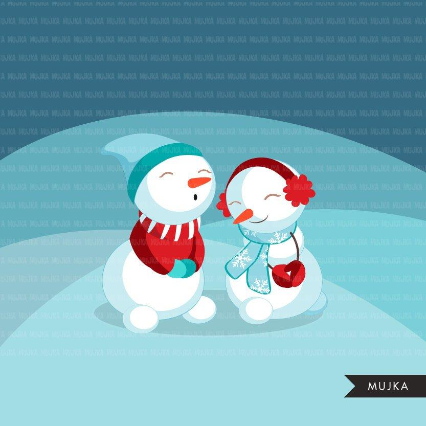 Christmas snowman clipart. Cute winter snowmen