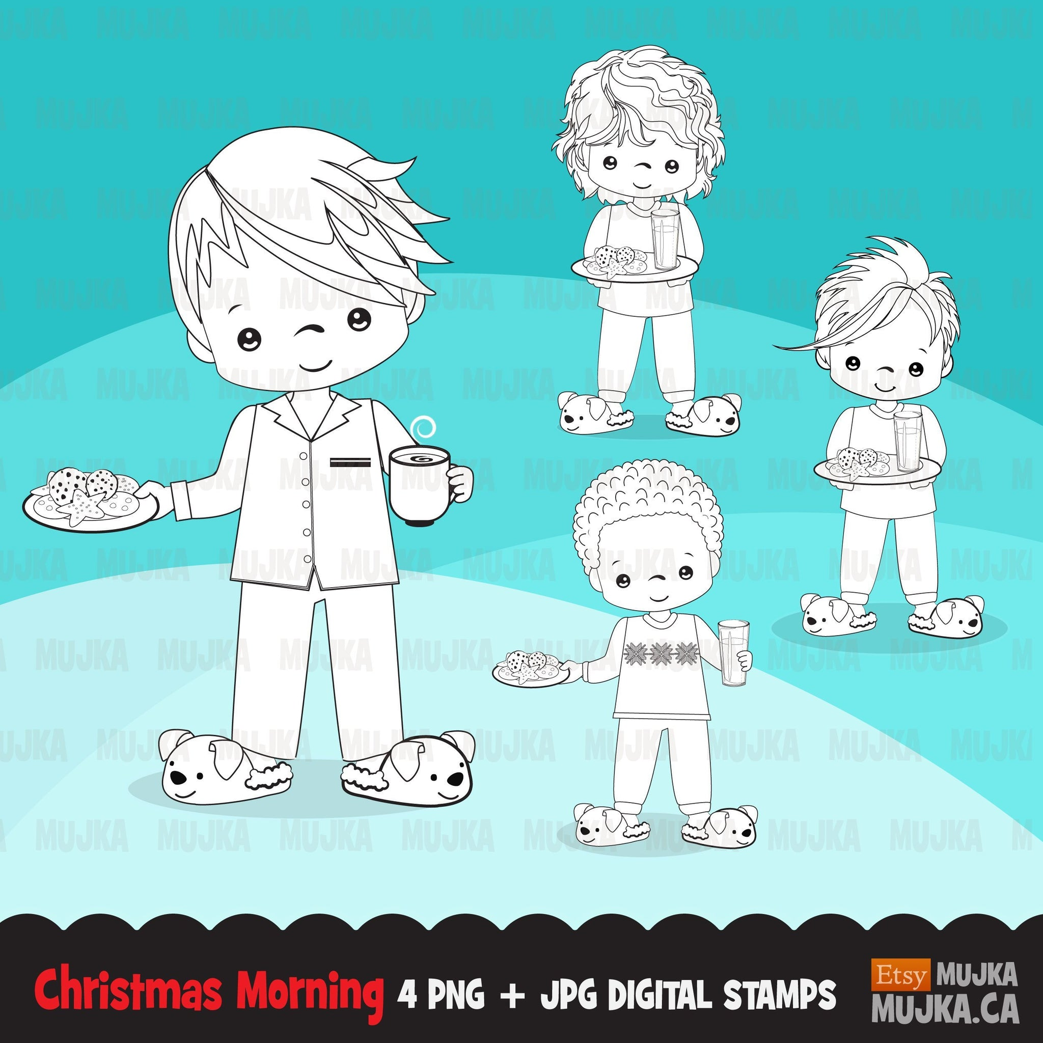 Christmas kids digital stamps, Boy