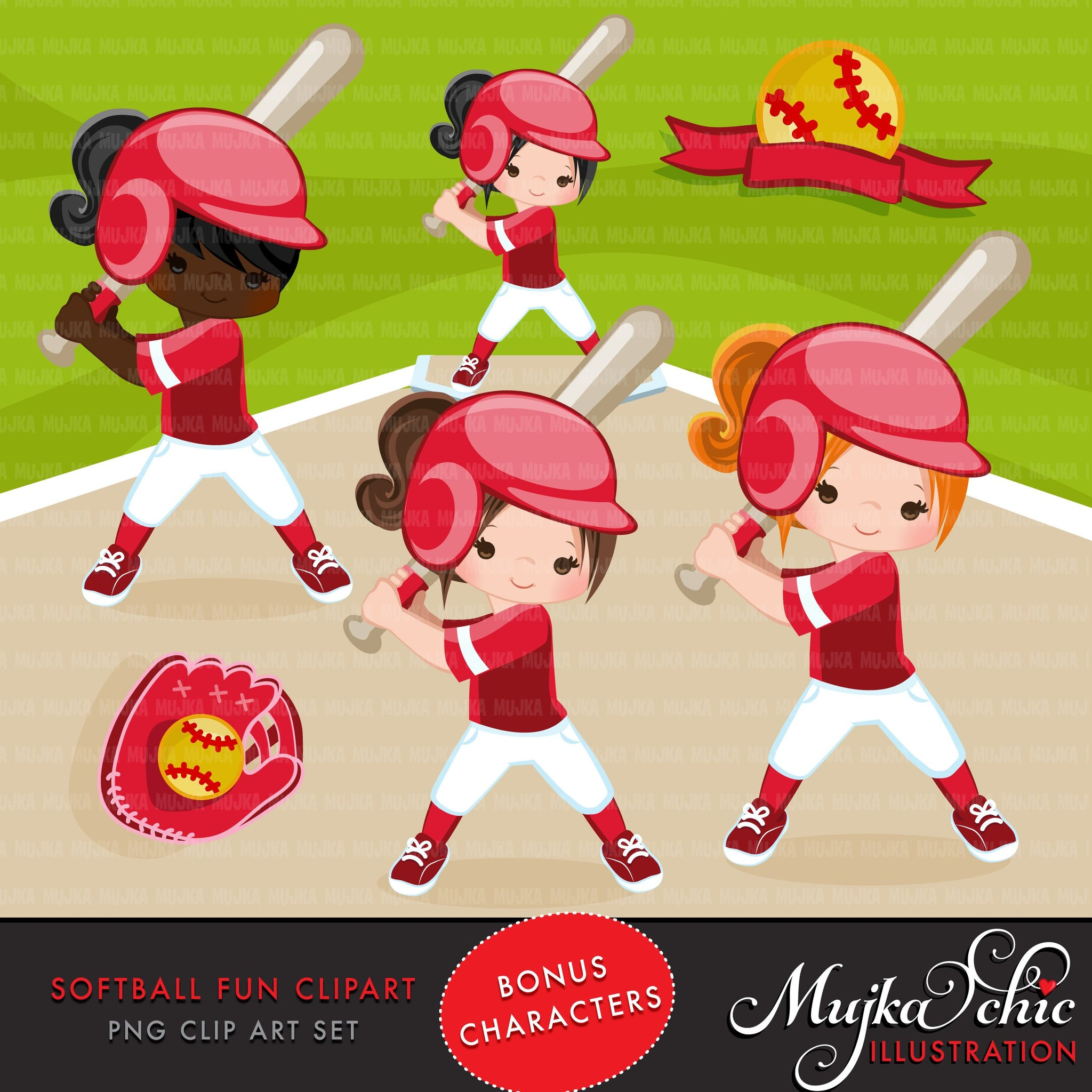 Softball Clipart, Girl in red