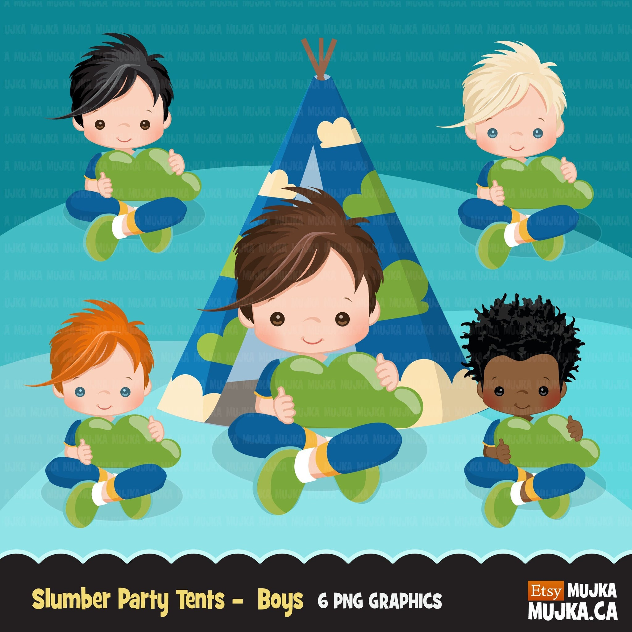 Slumber party clipart, sleepover tents for boy