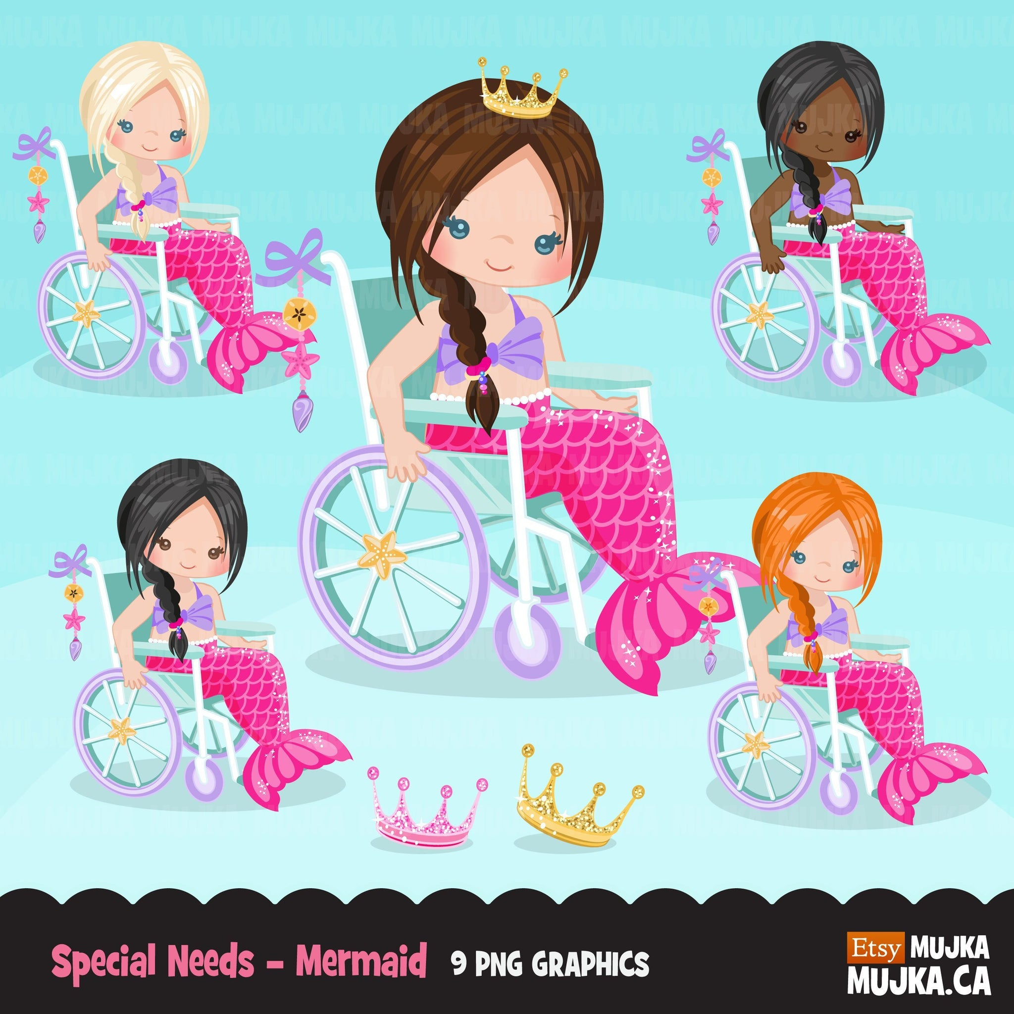 Special Needs Wheelchair clipart, girl with disability, mermaid princess