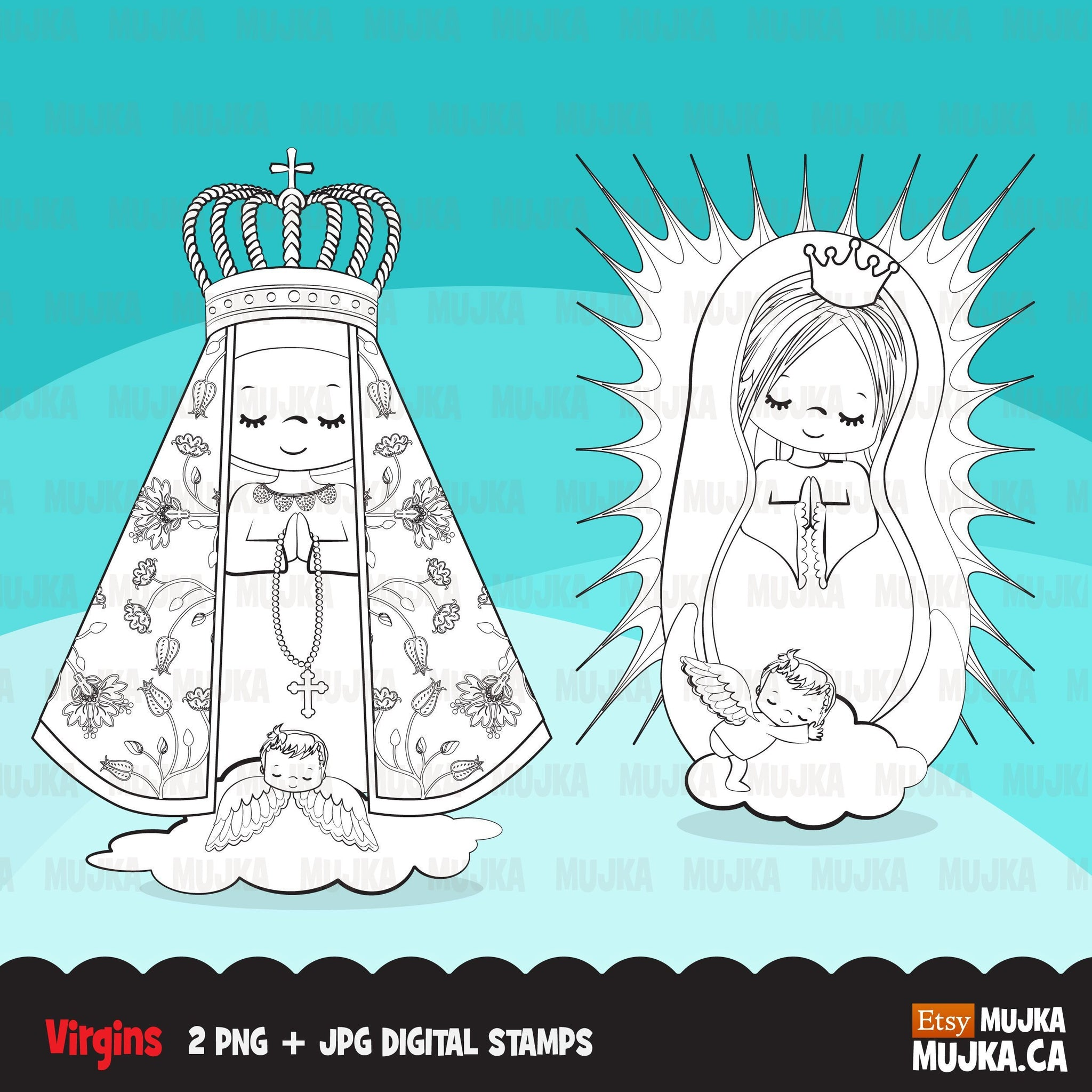 Christmas saints and virgins digital stamp