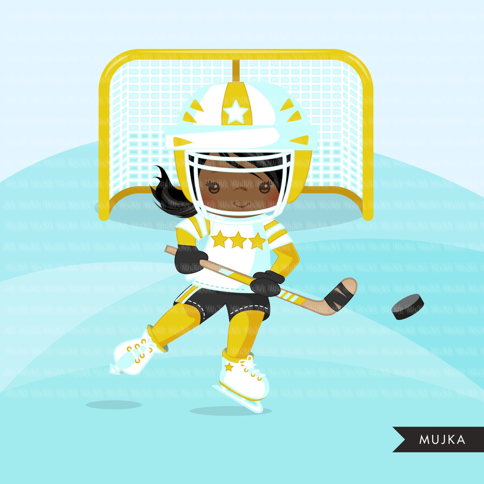 Hockey clipart, sporty girl in yellow jersey
