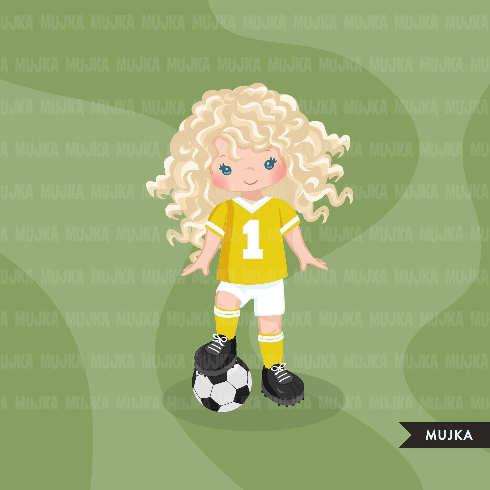 Soccer clipart, girl in yellow  jersey