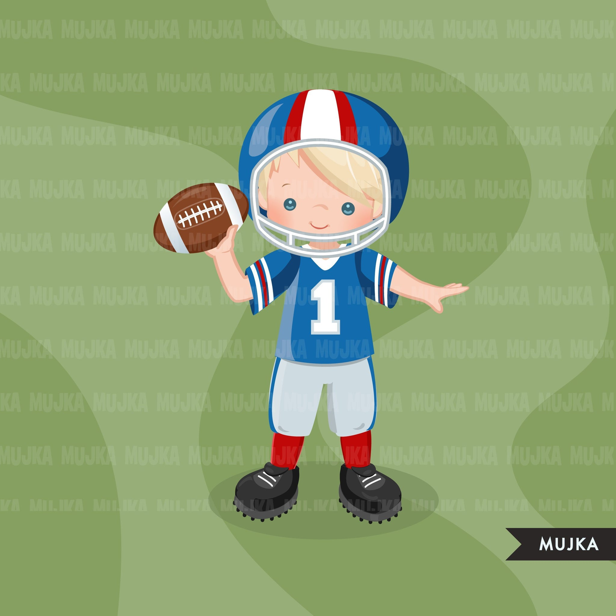 Football clipart, boy in red and blue throwing