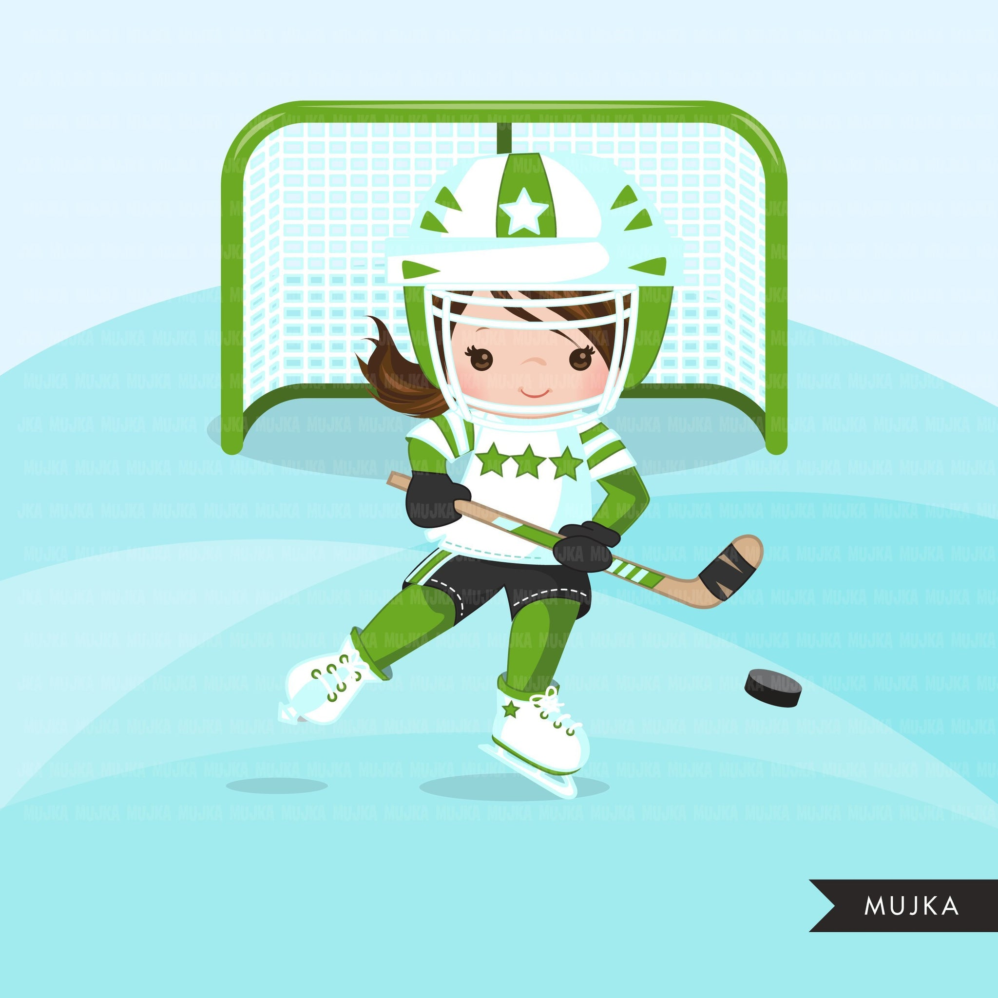 Hockey clipart, Girl in green jersey