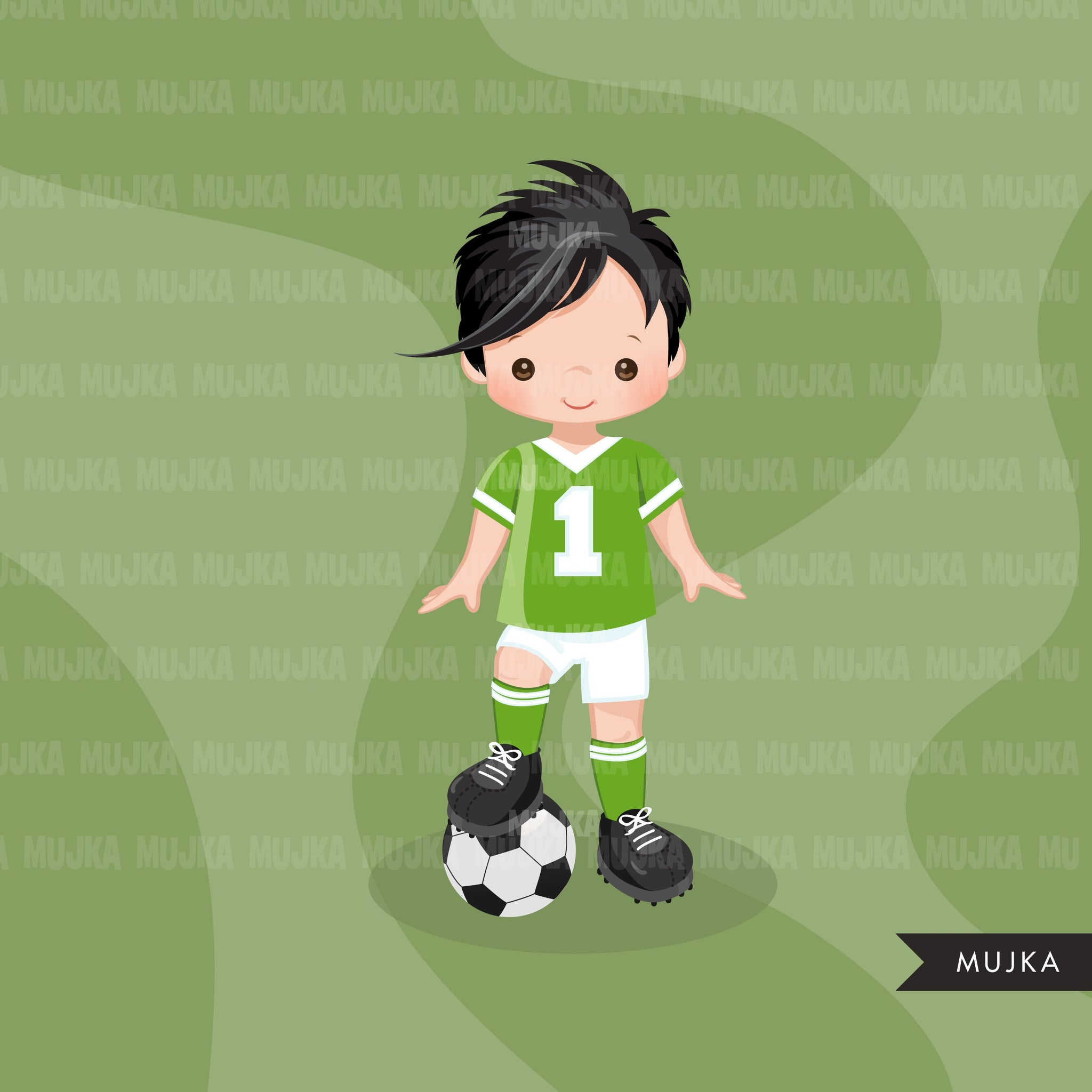 Soccer clipart, boy in green jersey