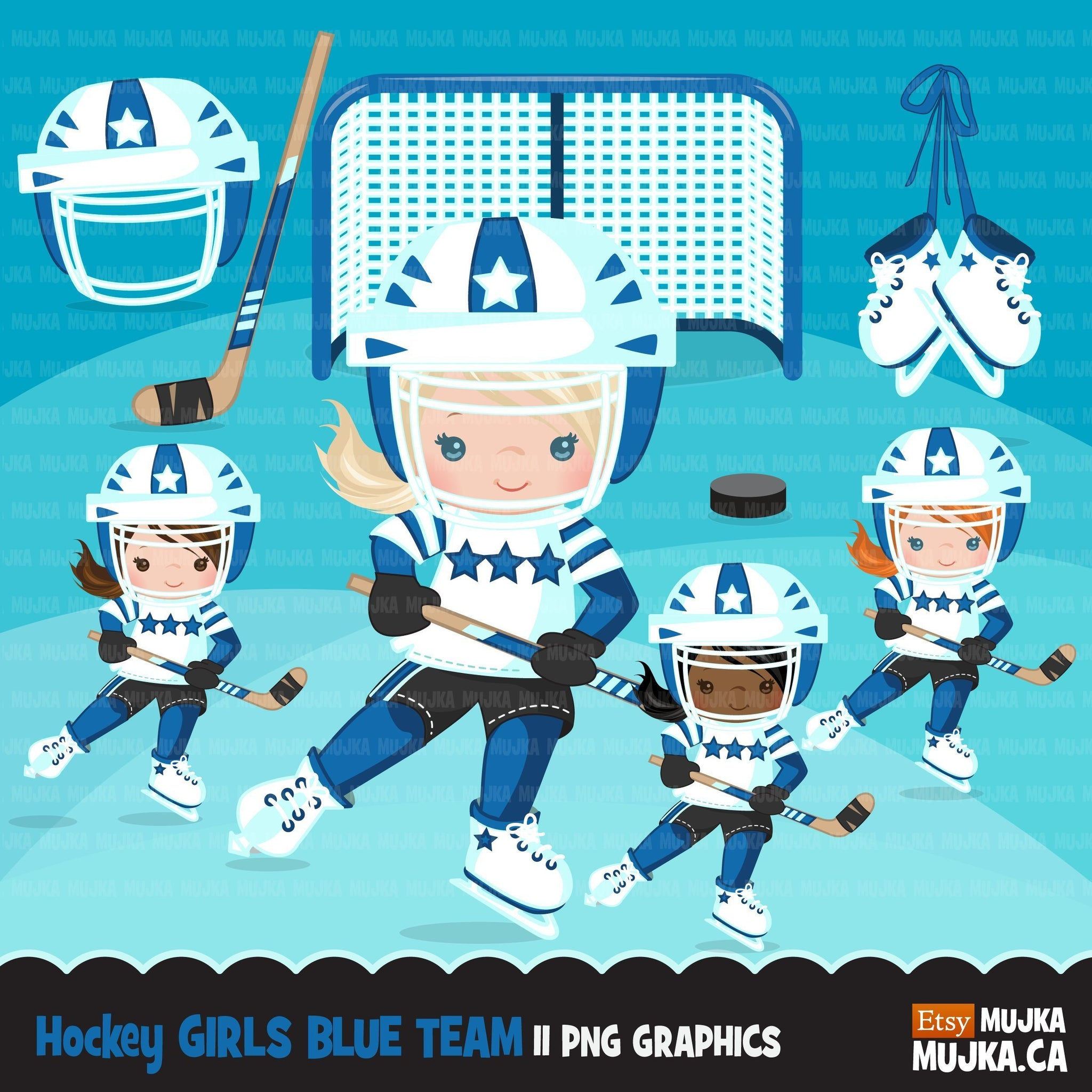 Hockey clipart, sporty girl in blue jersey
