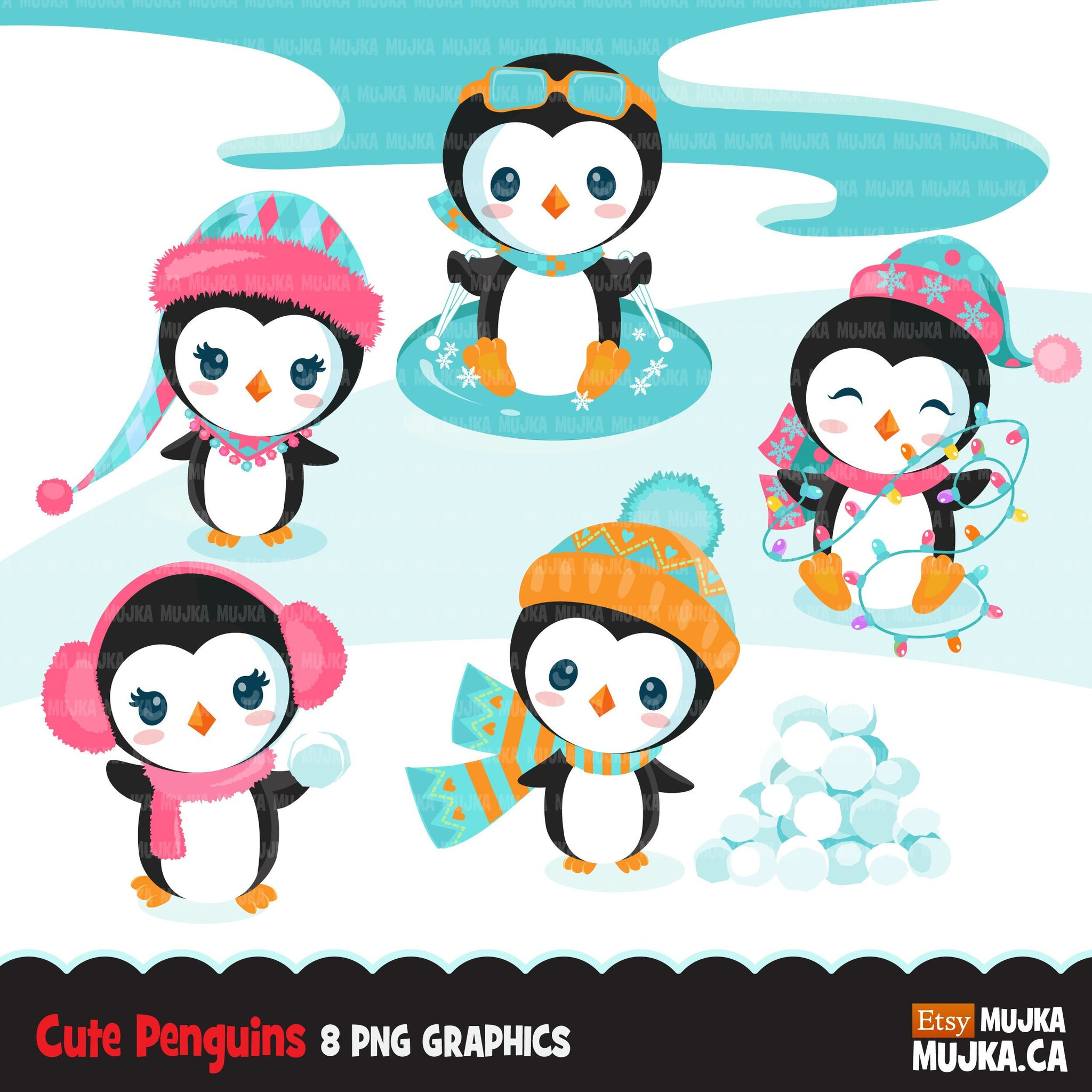 Christmas penguins, animal clipart winter