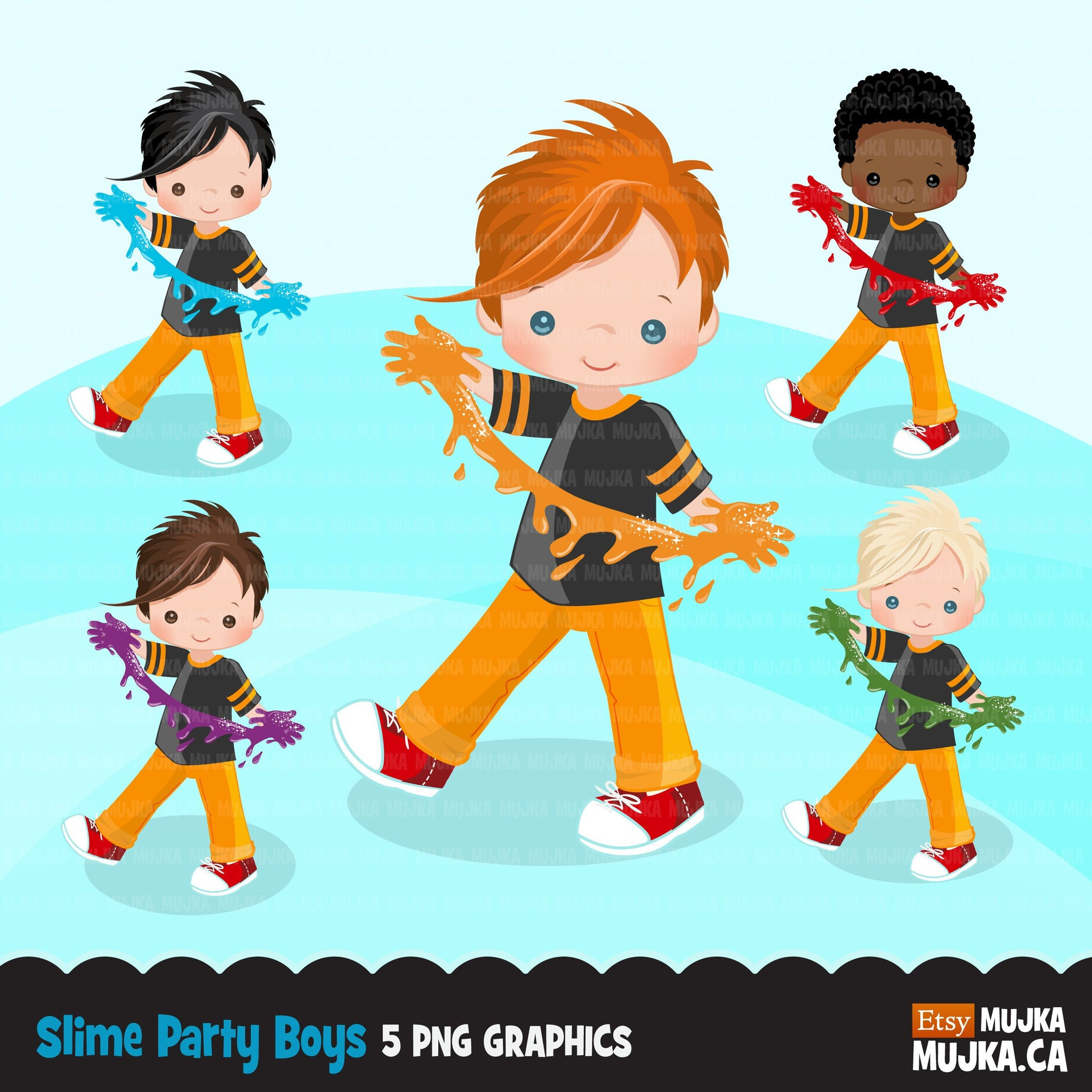 Slime party set for boy clipart 2